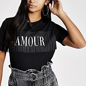 """Petite – Schwarzes T-Shirt """"Amour"""" mit Fransen"""