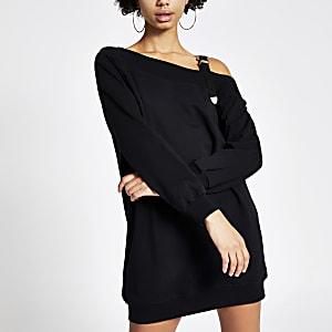 Schwarzes Sweatshirtkleid mit Schnallengurt