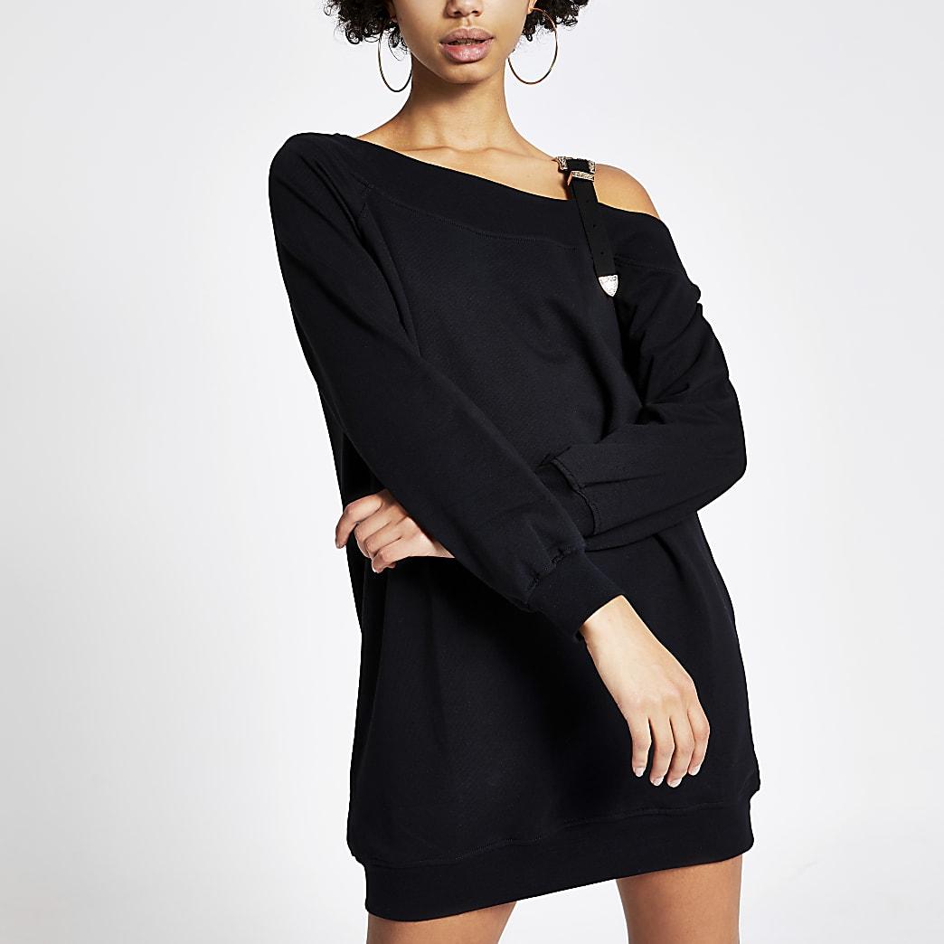 Zwarte sweatshirt-jurk met bandje met gesp