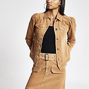 Braune, figurbetonte Jacke aus Cord mit Puffärmeln
