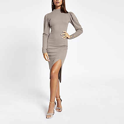 Beige long sleeve bodycon midi dress