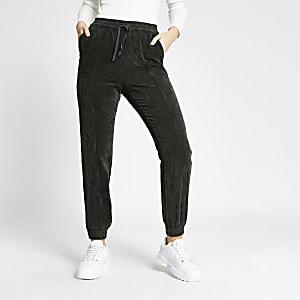 Pantalons de jogging en velours côtelé vert foncé