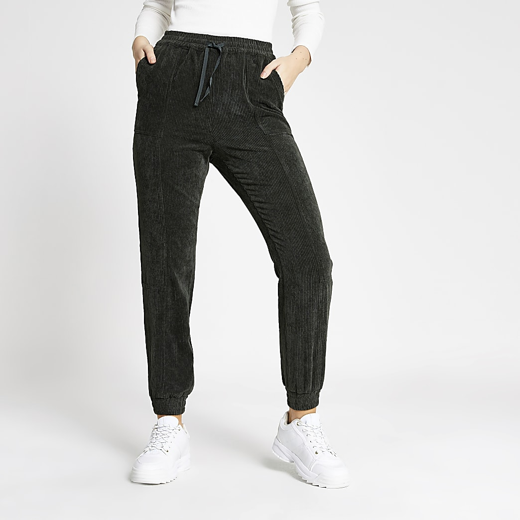 Dark green corduroy jogger trousers