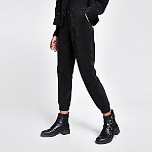 Pantalons de jogging en velours côtelé noir