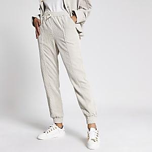 Pantalons de jogging en velours côtelé crème