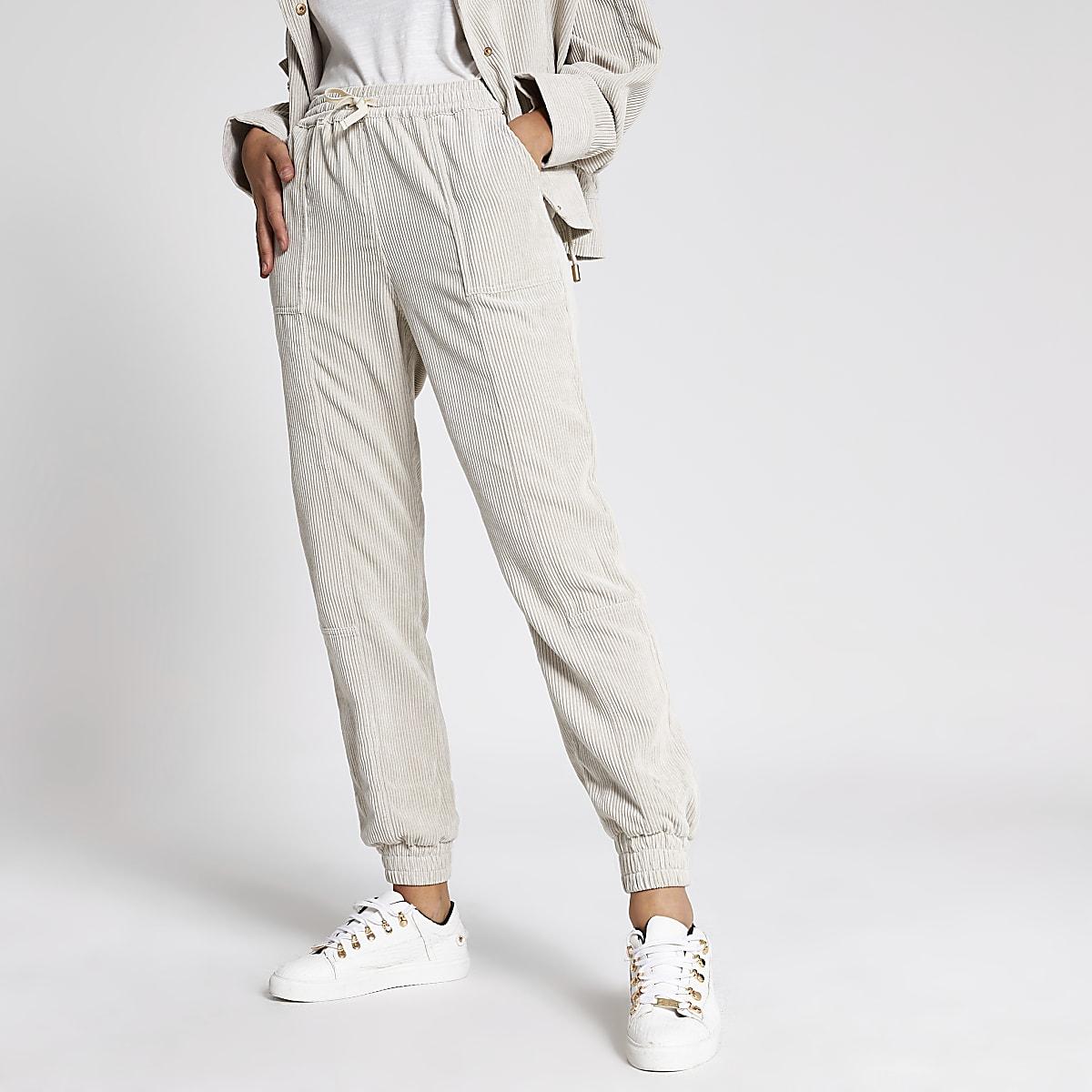 Crème corduroy joggingbroek