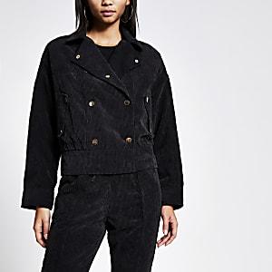 Schwarze Oversized-Jacke aus Cord mit Knopfleiste vorne