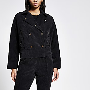 Zwart corduroy oversized jack met knopen voor