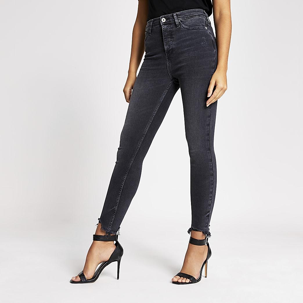 Hailey – Schwarze Skinny Jeans mit hohem Bund