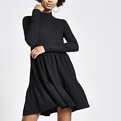Black jersey mini smock dress