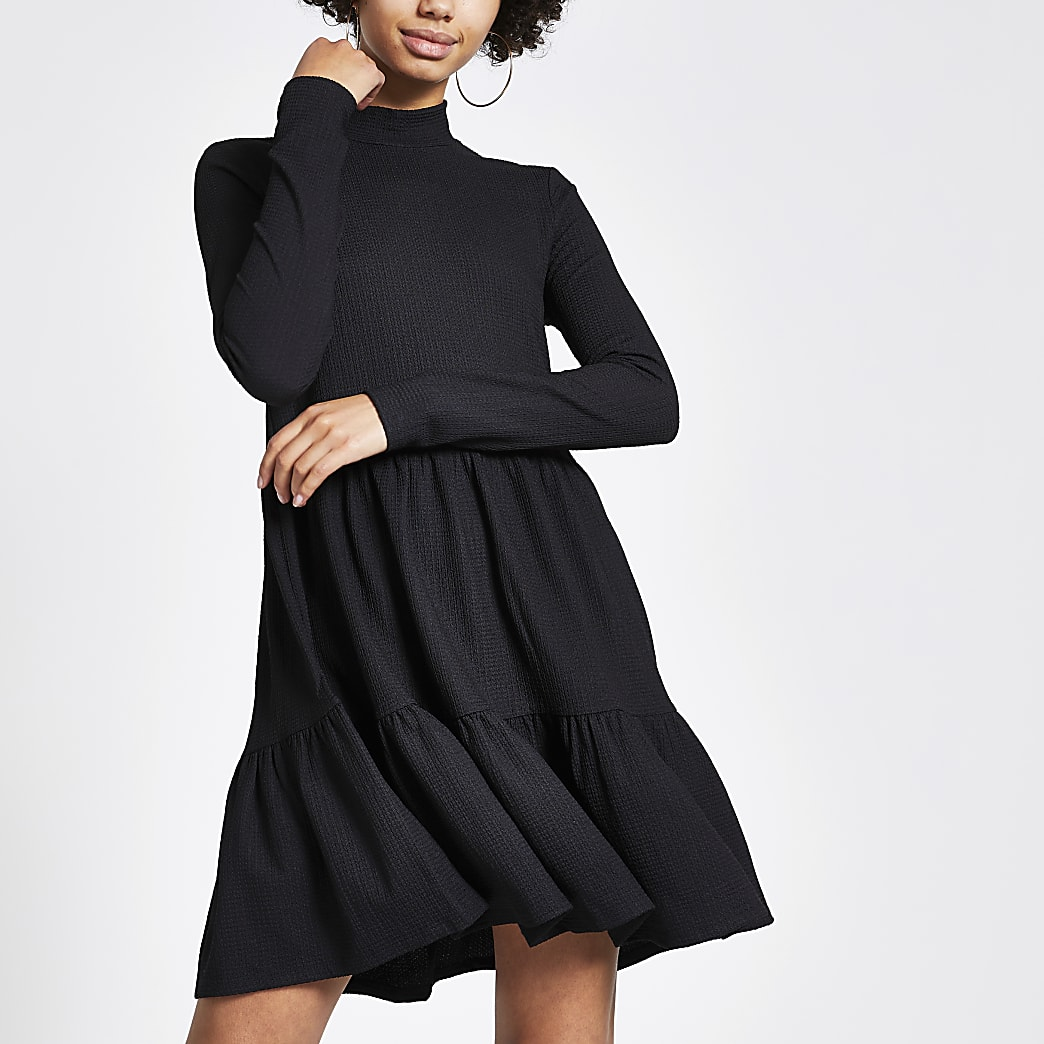 Black jersey mini smock dress