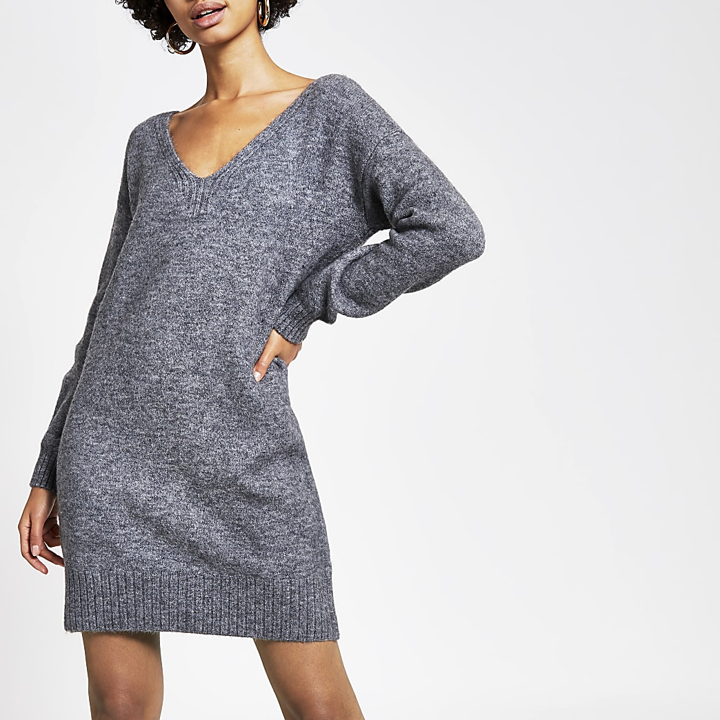 Grey tie back knitted jumper dress