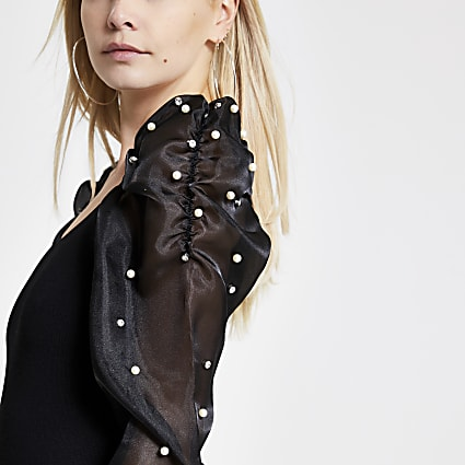 Petite black organza embellished sleeve top