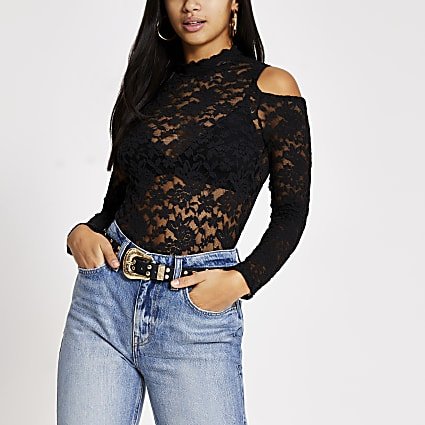 Petite black lace cold shoulder scallop top