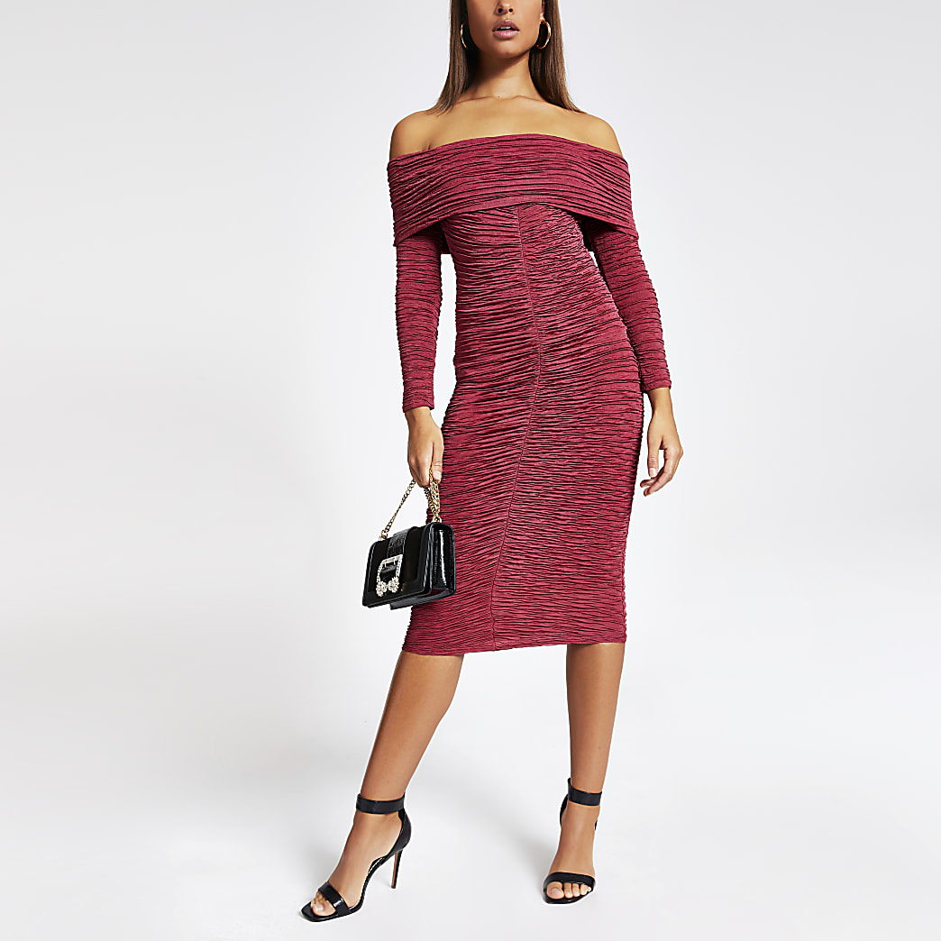 Dark red bardot ruched midi dress