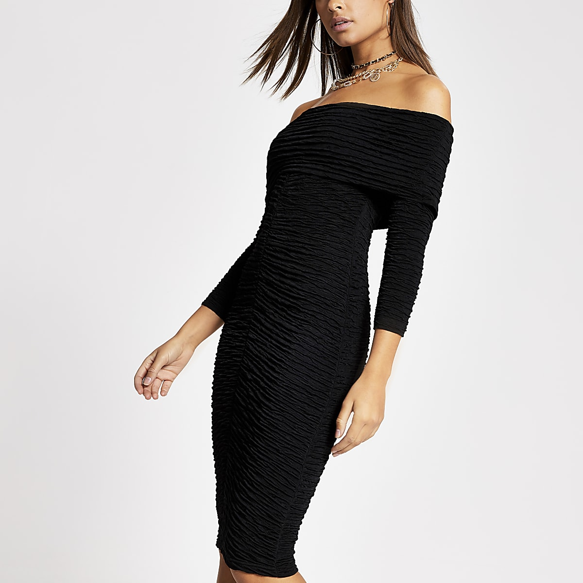Zwarte bardot midi-jurk met ruches