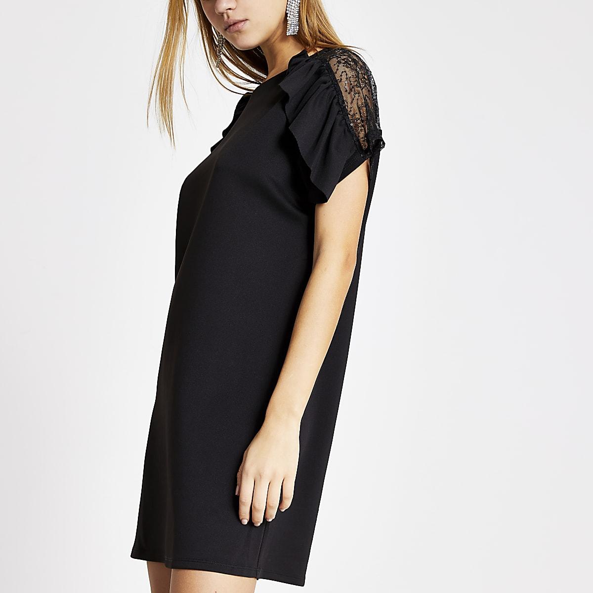 Black ruffle lace short sleeve dress