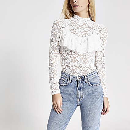 Petite cream lace high neck frill top