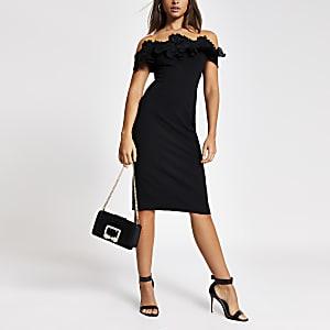 Zwarte bodycon midi-jurk met kant en ruches