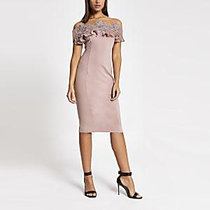 Pink lace frill bardot bodycon midi dress