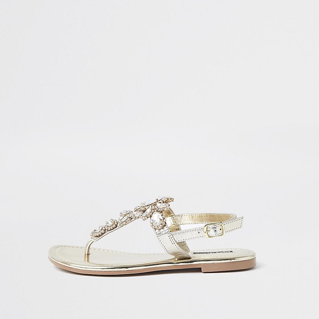 Gold embellished toe thong sandal