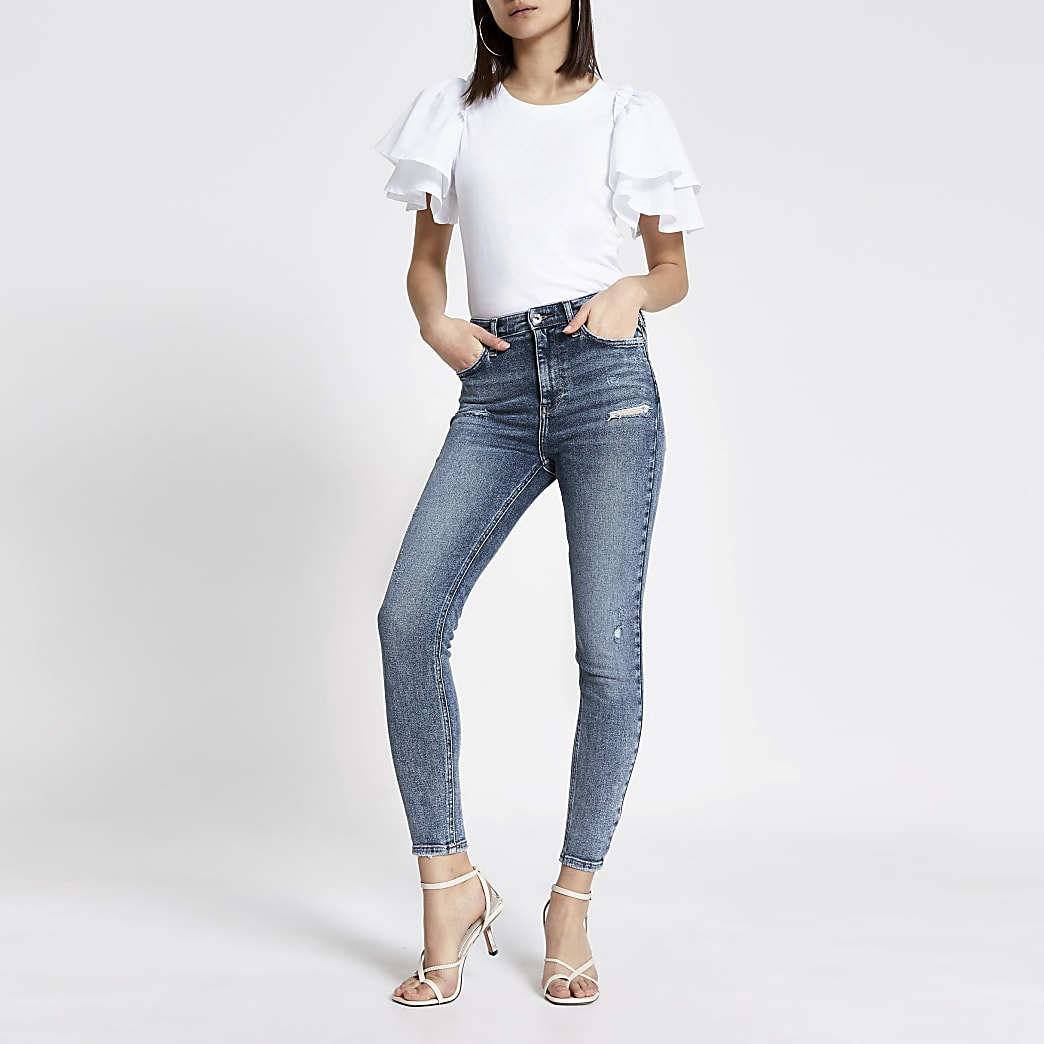 Blue rip Hailey high rise skinny jeans