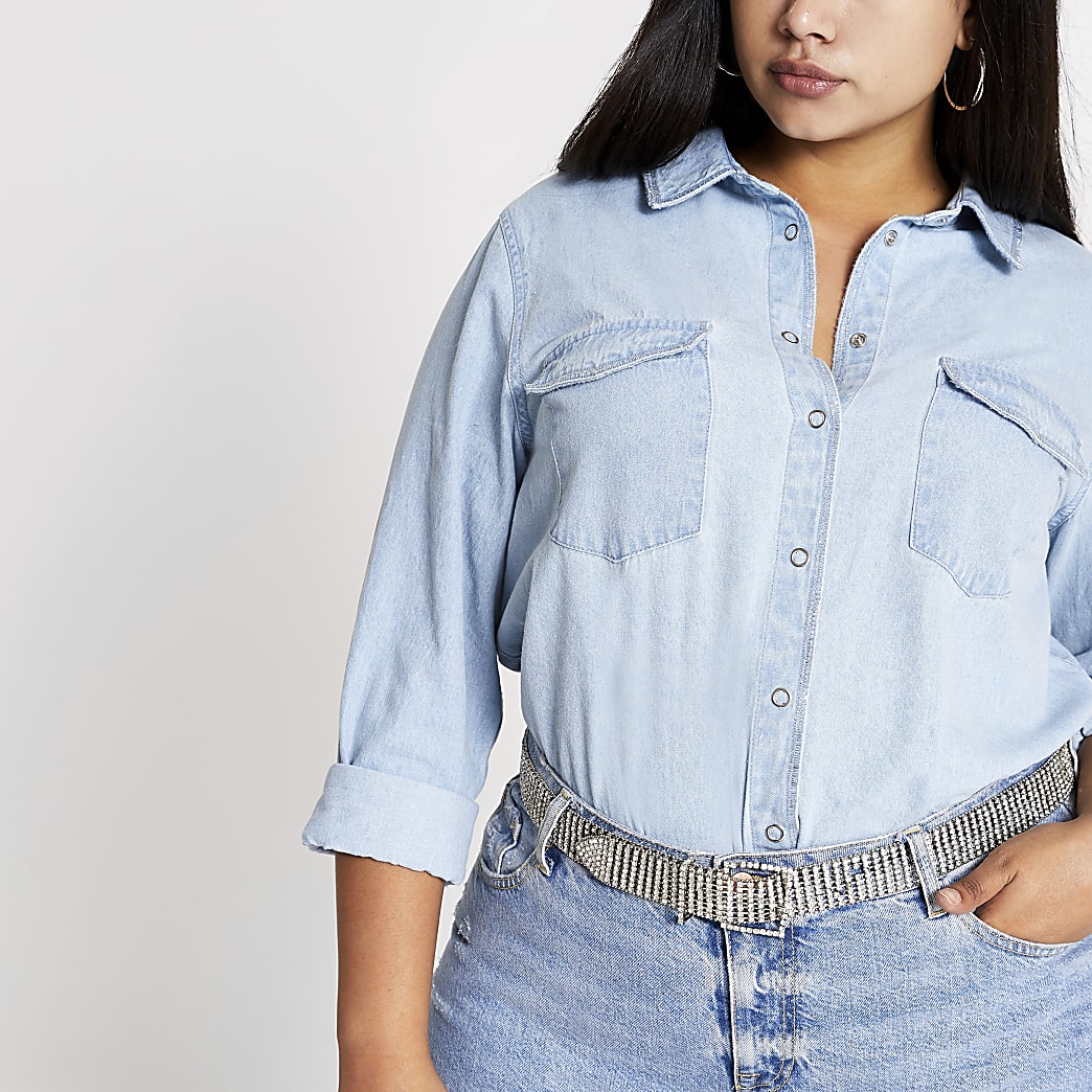 Plus light blue metallic trim denim shirt
