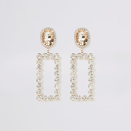 Rose gold tone rectangle jewel drop earrings