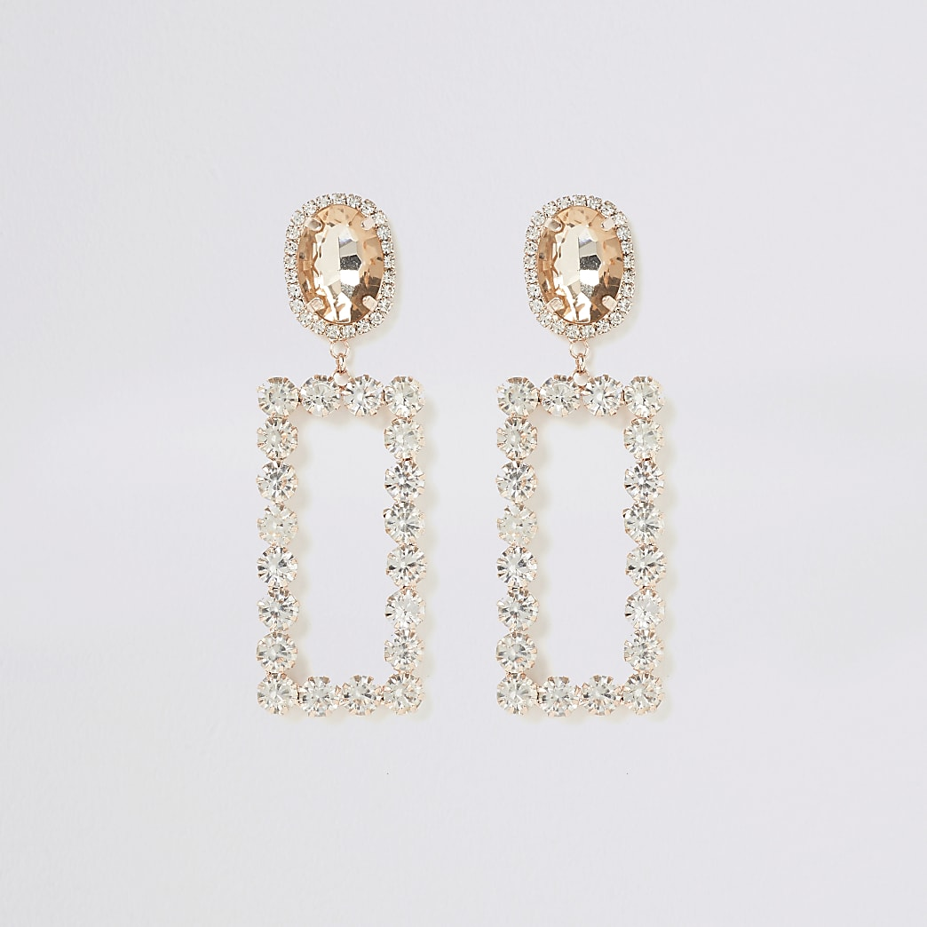 Rose gold colour rectangle drop earrings
