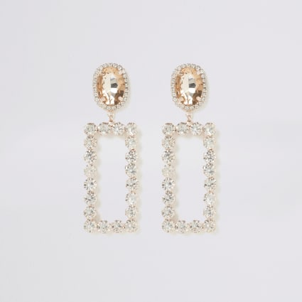 Rose gold rectangle jewel drop earrings