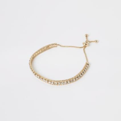 Gold colour diamante paved bracelet