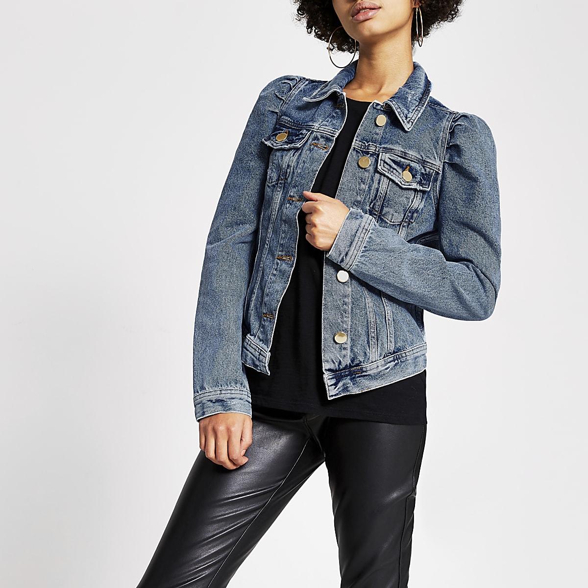 Mid blue puff shoulder denim jacket