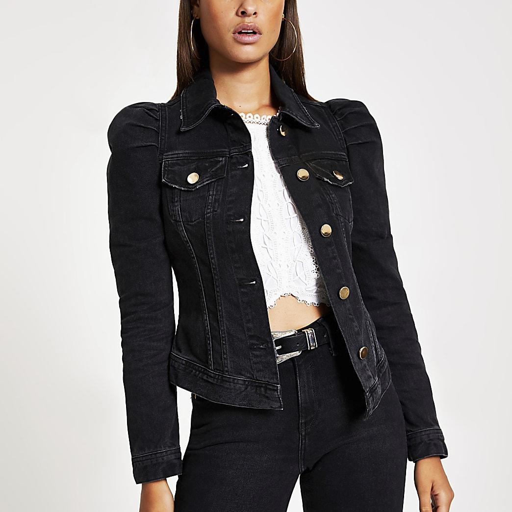 Black puff sleeve denim jacket