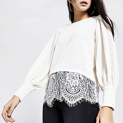 Cream textured lace hem blouse