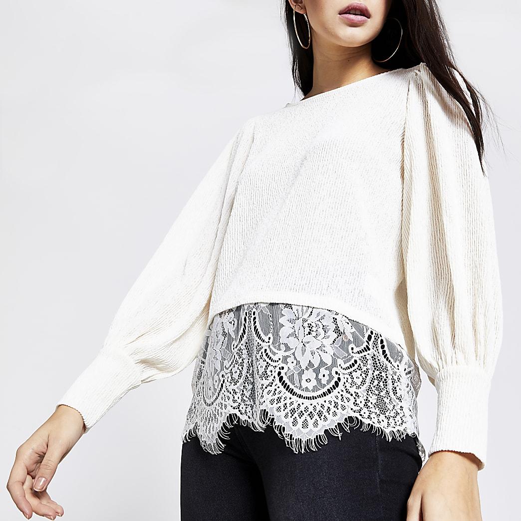 Cream textured lace hem blouse