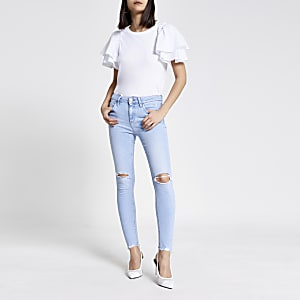 Lichtblauwe rippedskinny Amelie jeans met halfhoge taille