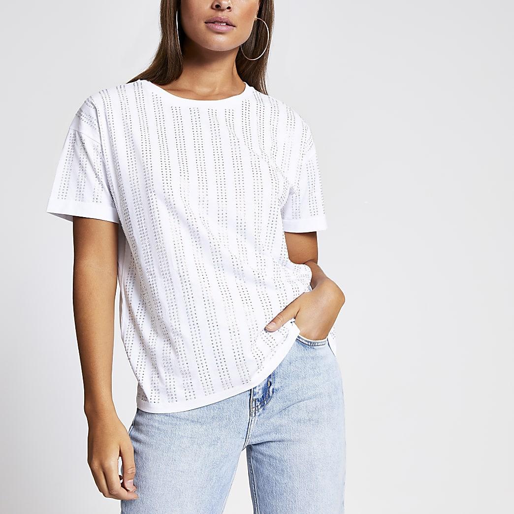 White diamante stripe loose fit T-shirt