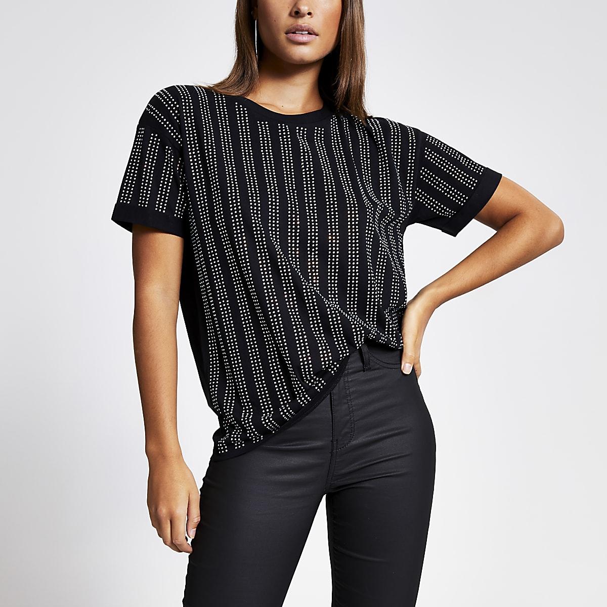 Zwart ruimvallend T-shirt met strepen in siersteentjes