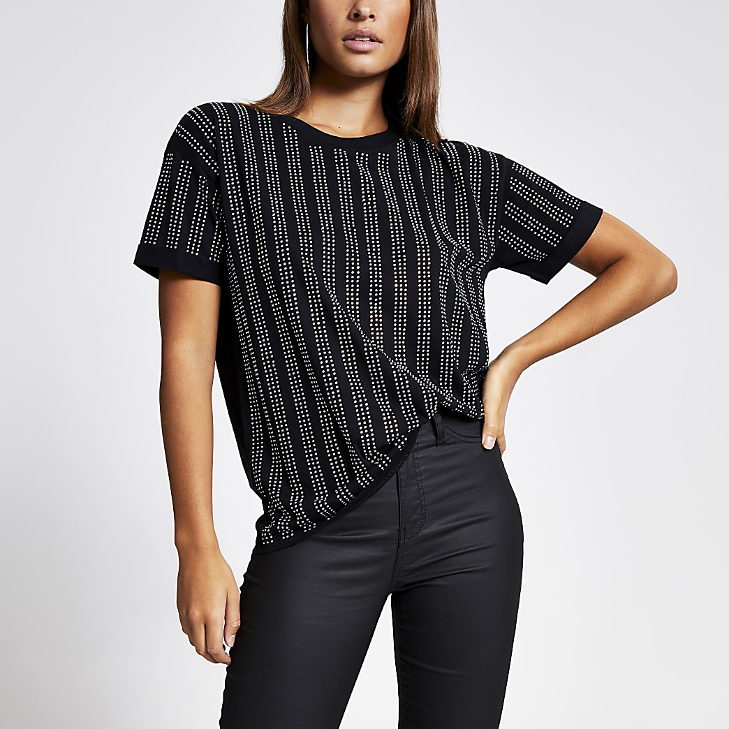 Black diamante stripe loose fit T-shirt