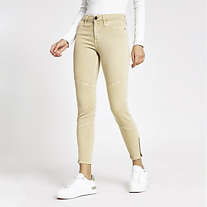 Beige Molly mid rise zip hem jeggings