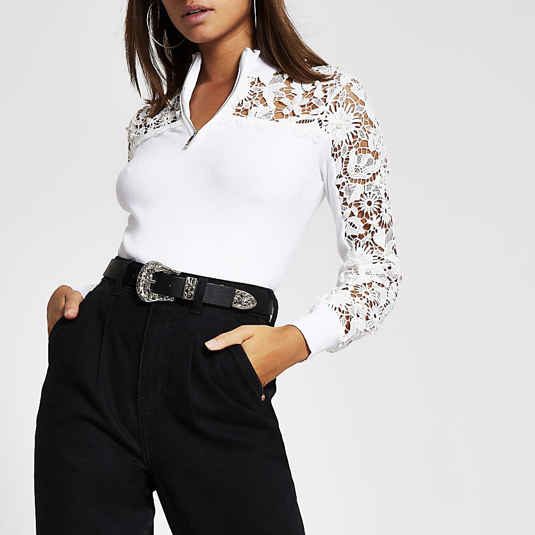 Cream lace embellished half zip sweatshirt