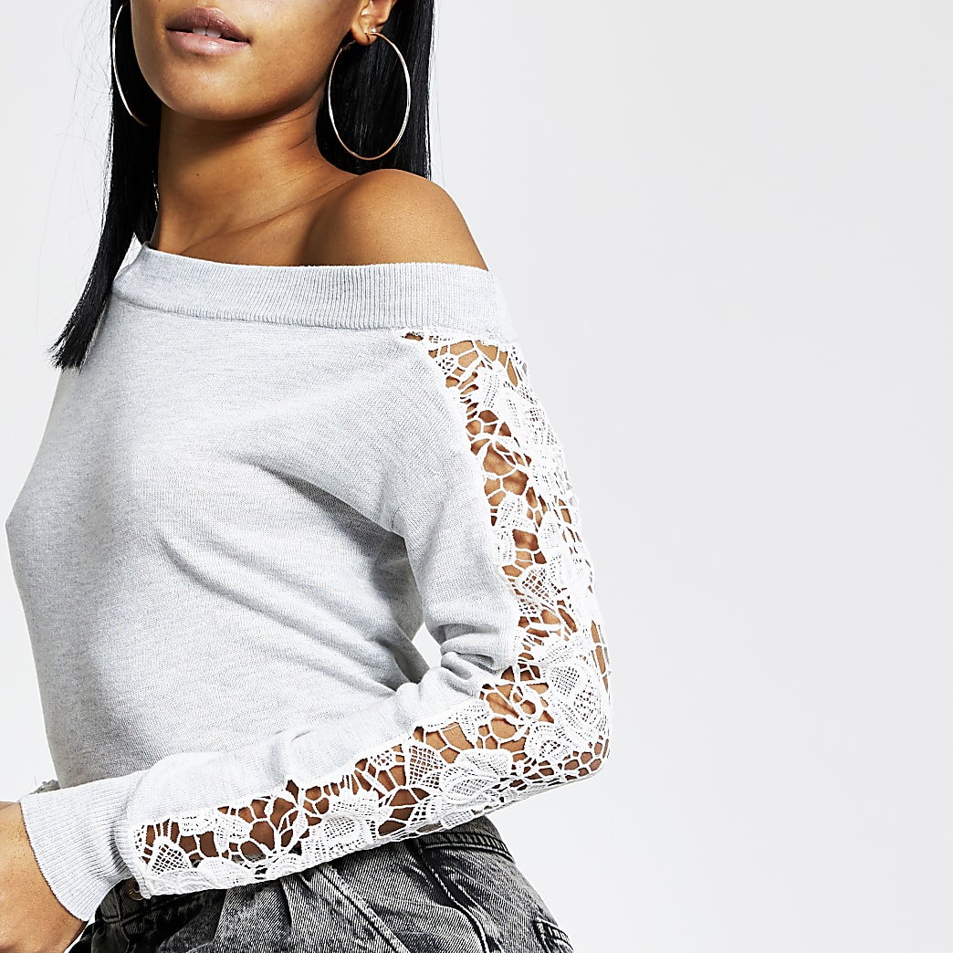 Grey lace long sleeve knitted top