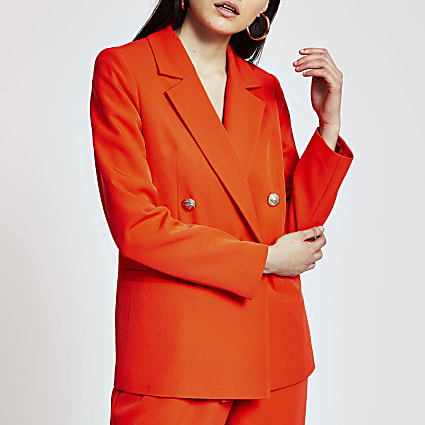 Orange double breasted blazer