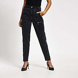 Zwarte jogging jeans met hoge taille