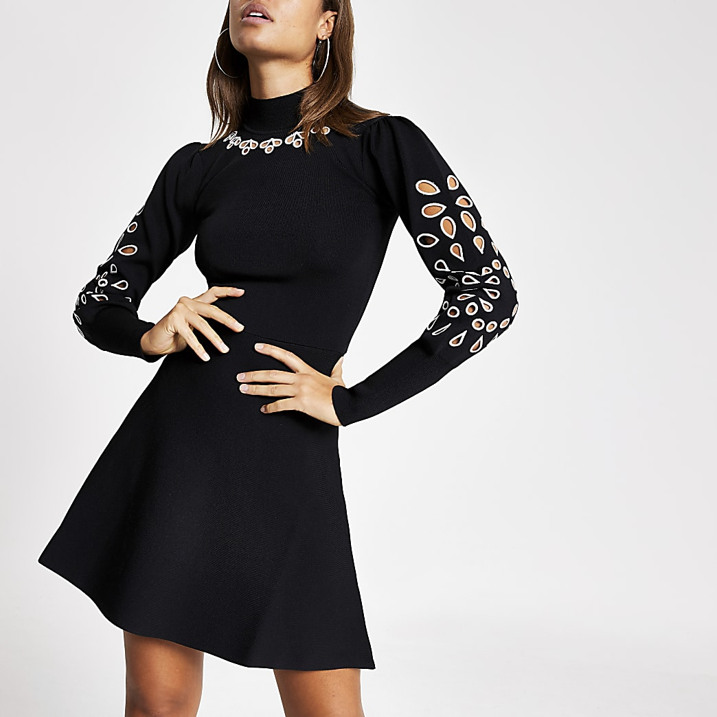 Black cut out puff sleeve knitted dress