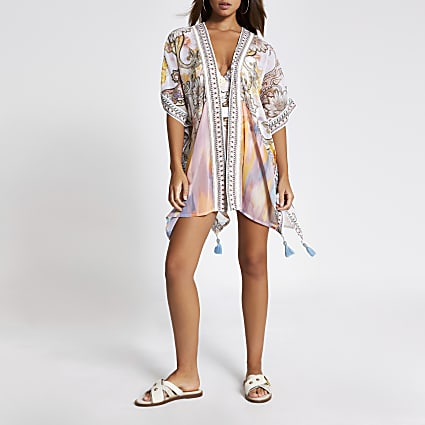 Cream paisley embellished beach kaftan