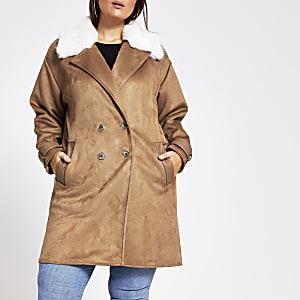 Plus – Veste longue ensuédine marron