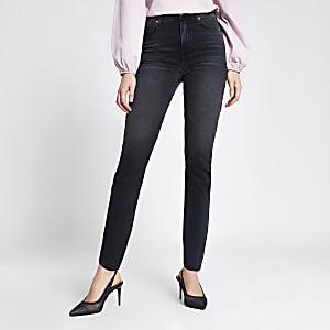 Brooke – Jean slim bleu taille haute noir délavé