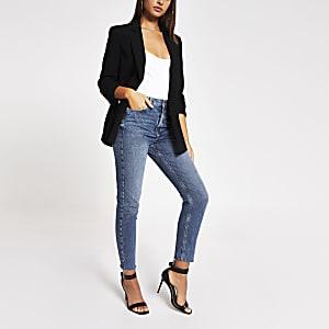 Blauwe slim-fit Brooke jeans met hoge taille