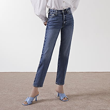 Blue high rise straight Blair jeans